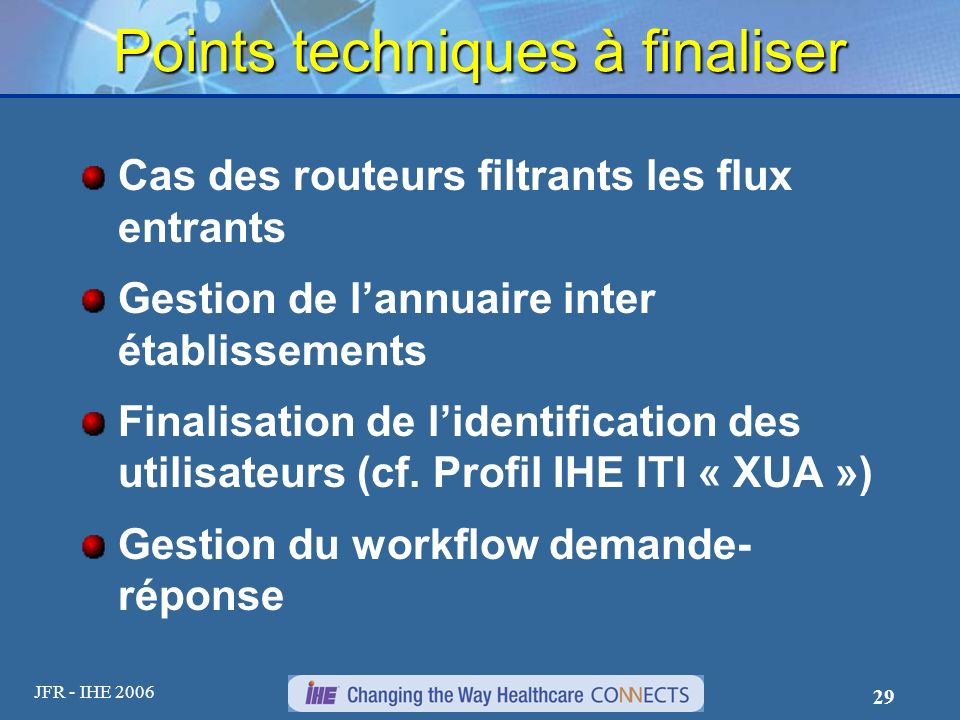 Points techniques à finaliser