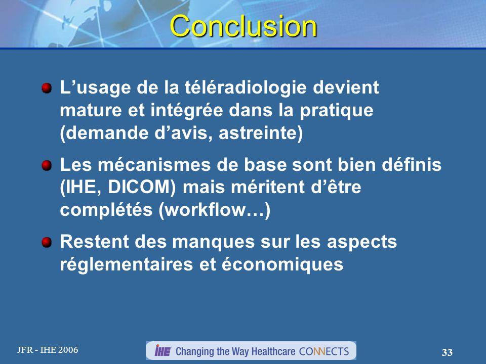 Conclusion L'usage de la téléradiologie devient mature et intégrée dans la pratique (demande d'avis, astreinte)
