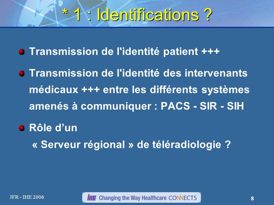 * 1 : Identifications Transmission de l identité patient +++