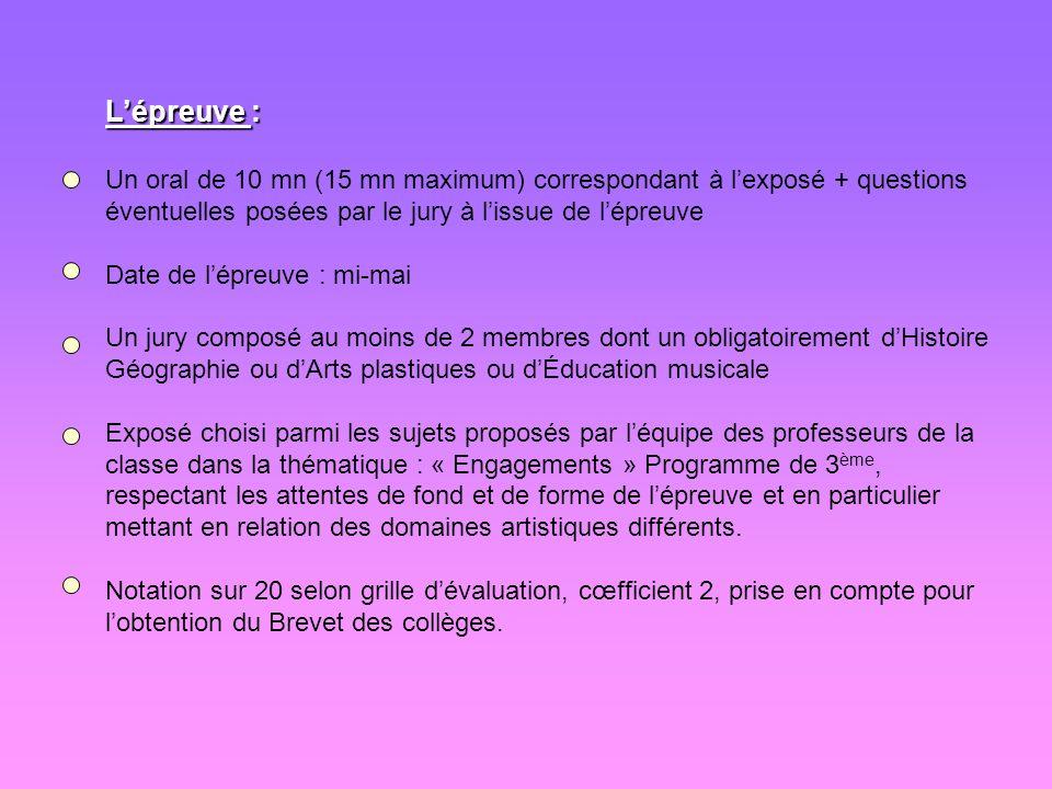 L'épreuve : Un oral de 10 mn (15 mn maximum) correspondant à l'exposé + questions éventuelles posées par le jury à l'issue de l'épreuve.