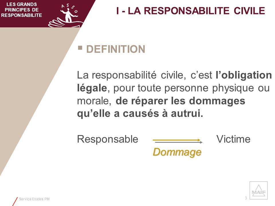 I - LA RESPONSABILITE CIVILE