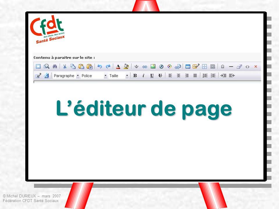 L'éditeur de page © Michel DURIEUX – mars 2007 Fédération CFDT Santé Sociaux