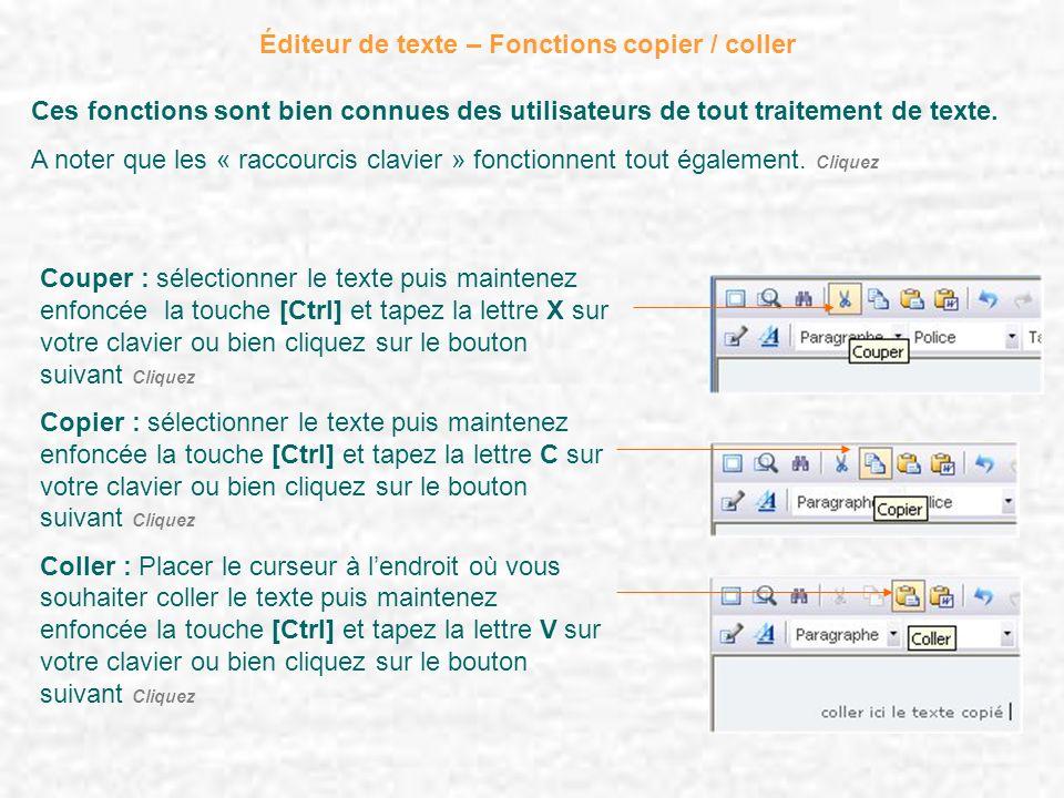 Éditeur de texte – Fonctions copier / coller