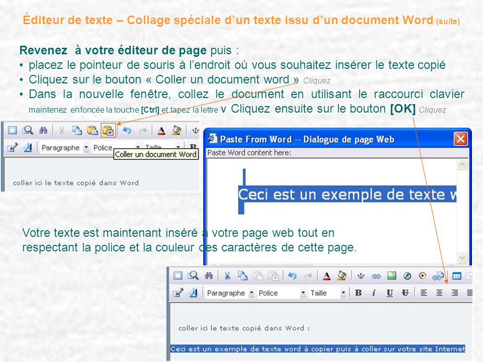 Éditeur de texte – Collage spéciale d'un texte issu d'un document Word (suite)