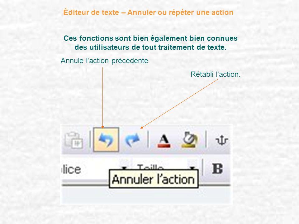 Éditeur de texte – Annuler ou répéter une action