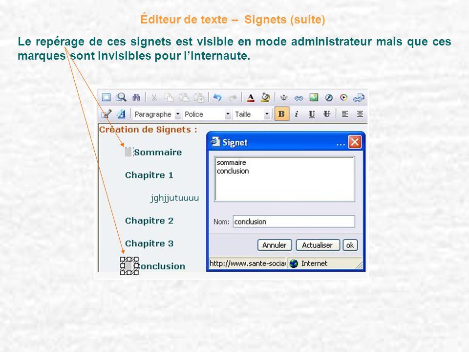 Éditeur de texte – Signets (suite)