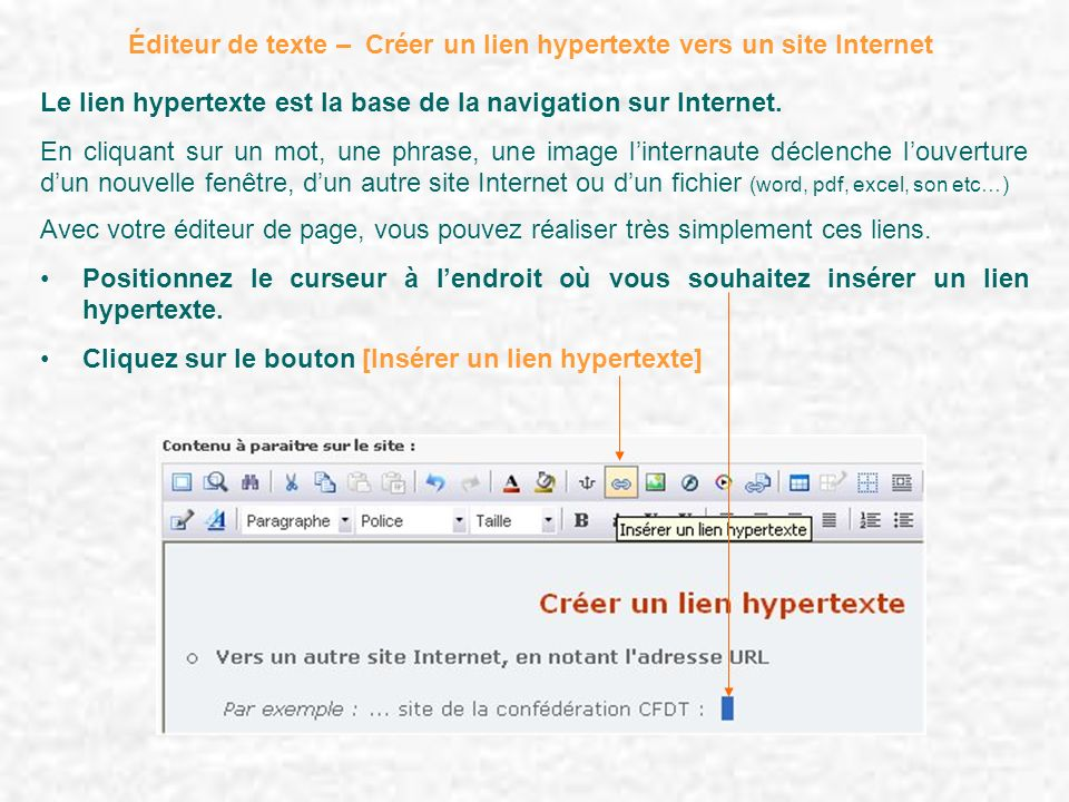 Éditeur de texte – Créer un lien hypertexte vers un site Internet