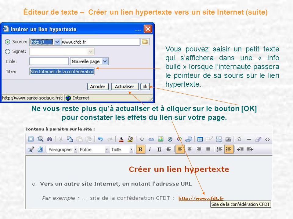 Éditeur de texte – Créer un lien hypertexte vers un site Internet (suite)