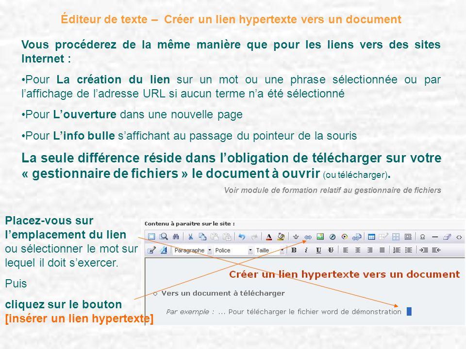 Éditeur de texte – Créer un lien hypertexte vers un document