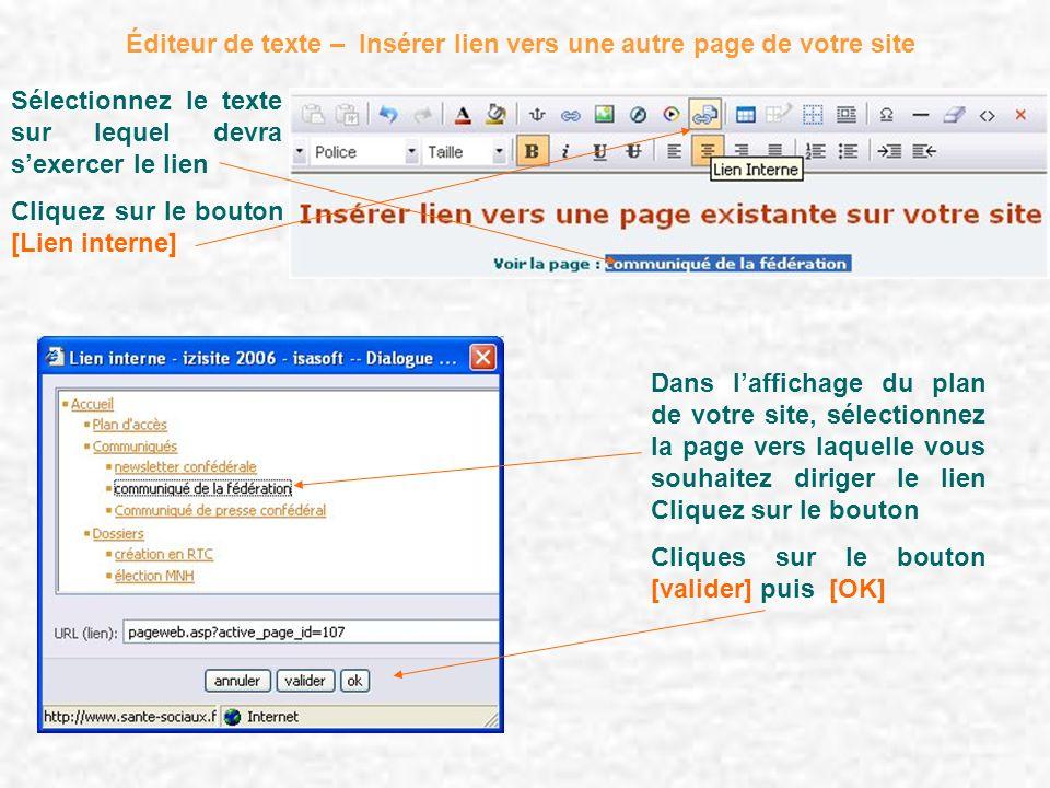 Éditeur de texte – Insérer lien vers une autre page de votre site