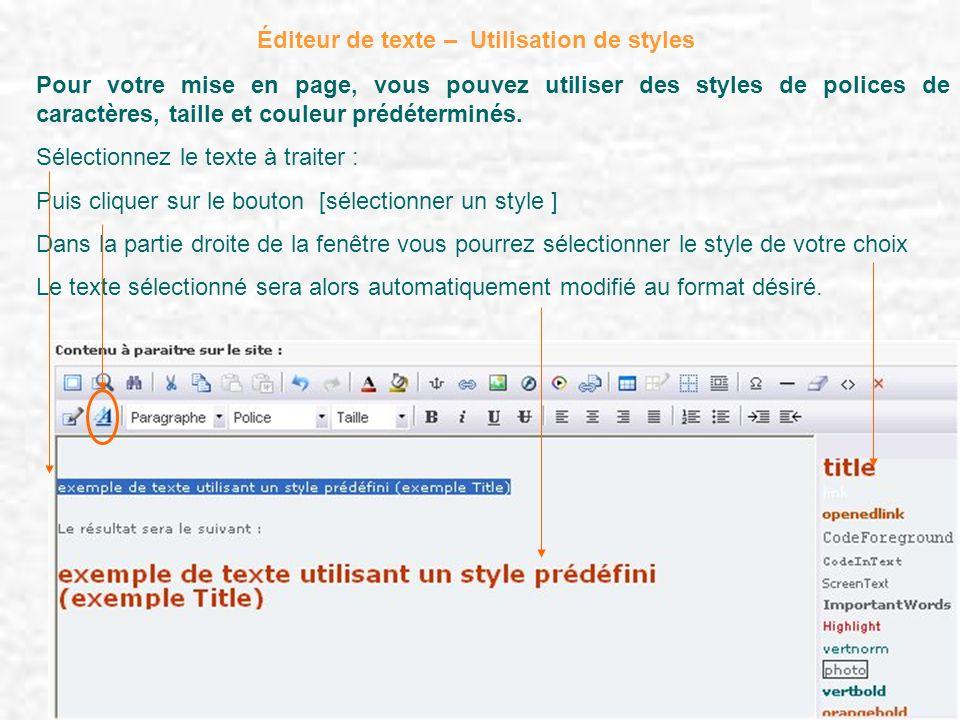 Éditeur de texte – Utilisation de styles