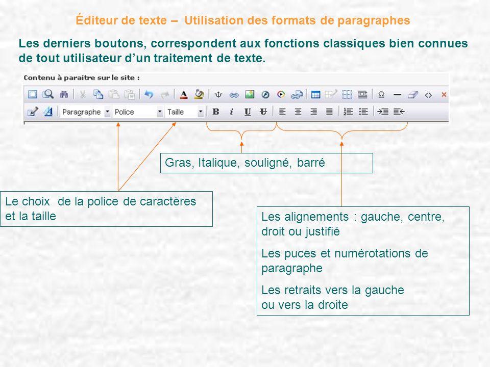 Éditeur de texte – Utilisation des formats de paragraphes