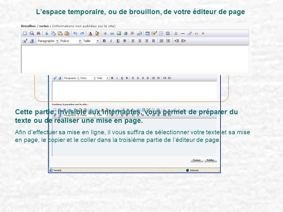 L'espace temporaire, ou de brouillon, de votre éditeur de page