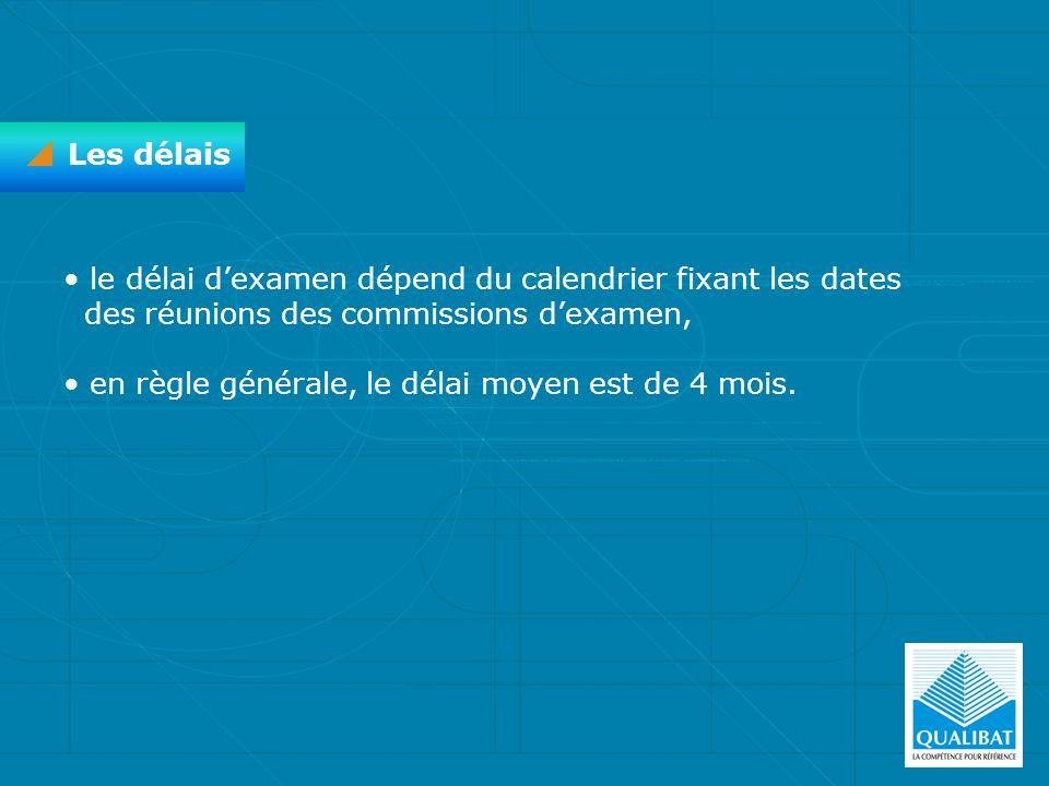 Les délais le délai d'examen dépend du calendrier fixant les dates des réunions des commissions d'examen,