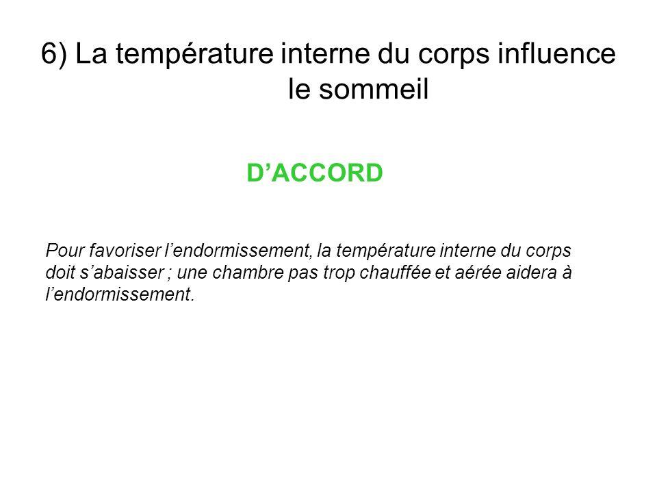 6) La température interne du corps influence le sommeil