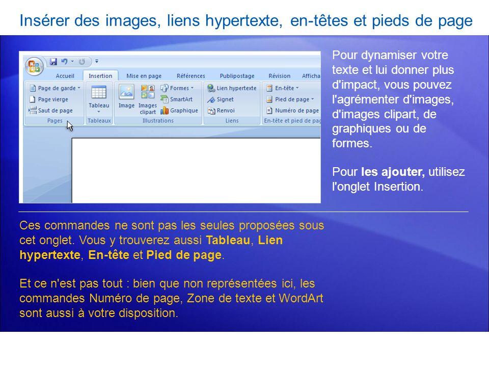Insérer des images, liens hypertexte, en-têtes et pieds de page