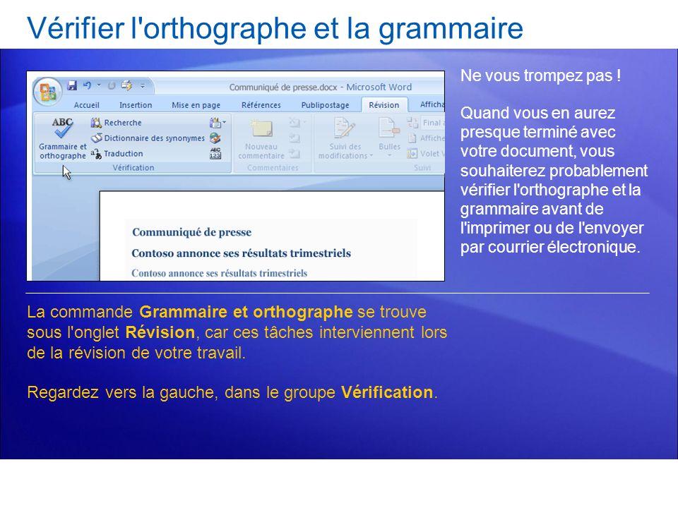 Vérifier l orthographe et la grammaire