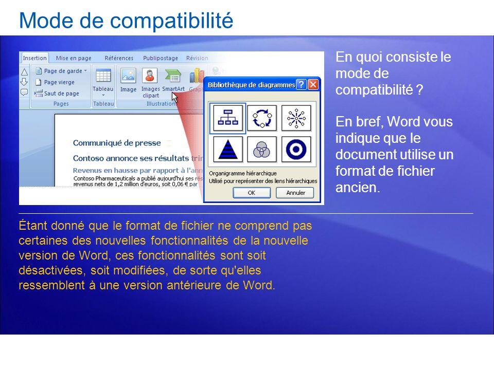 Mode de compatibilité En quoi consiste le mode de compatibilité