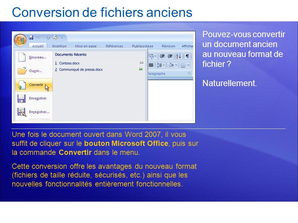 Conversion de fichiers anciens