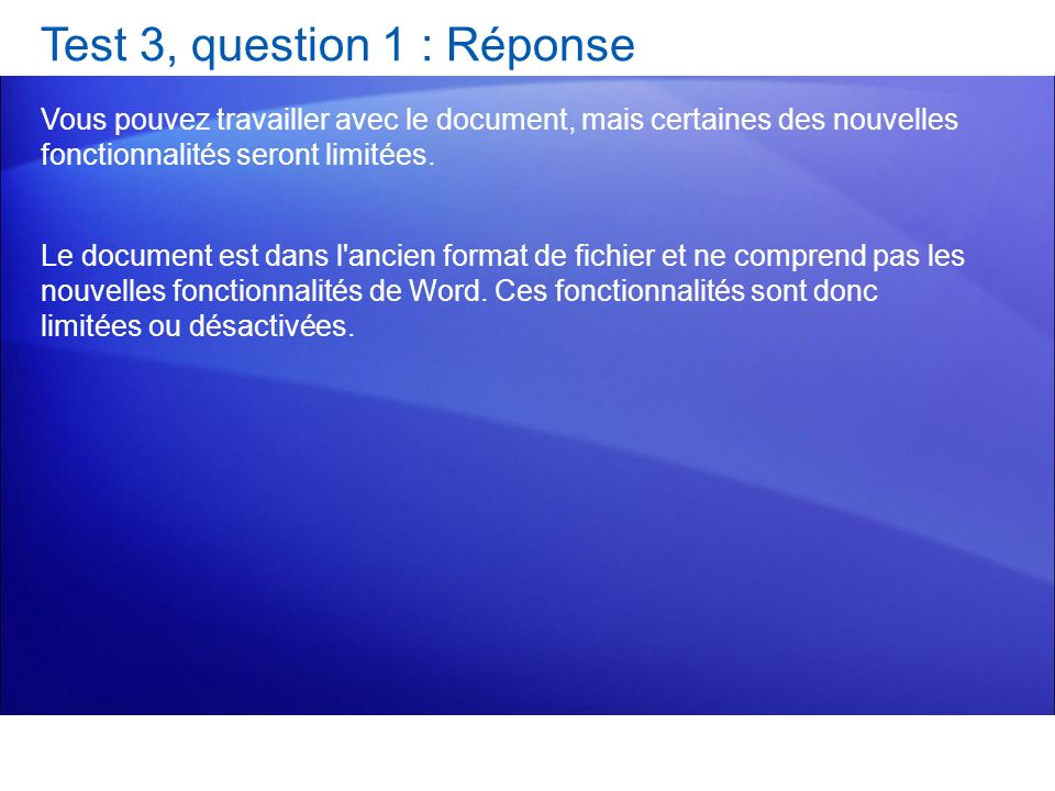 Test 3, question 1 : Réponse