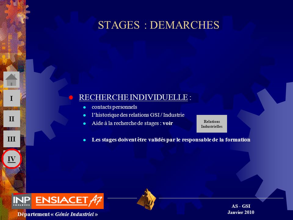 STAGES : DEMARCHES RECHERCHE INDIVIDUELLE : contacts personnels