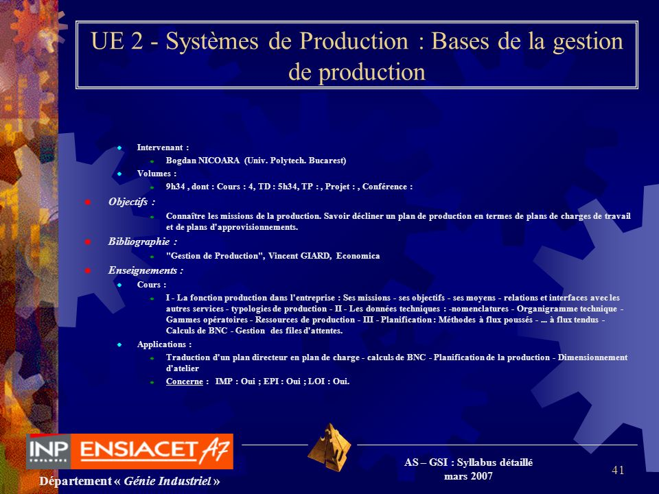 UE 2 - Systèmes de Production : Bases de la gestion de production