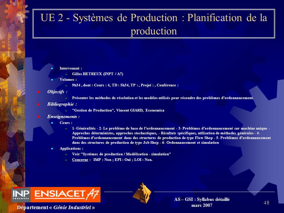UE 2 - Systèmes de Production : Planification de la production