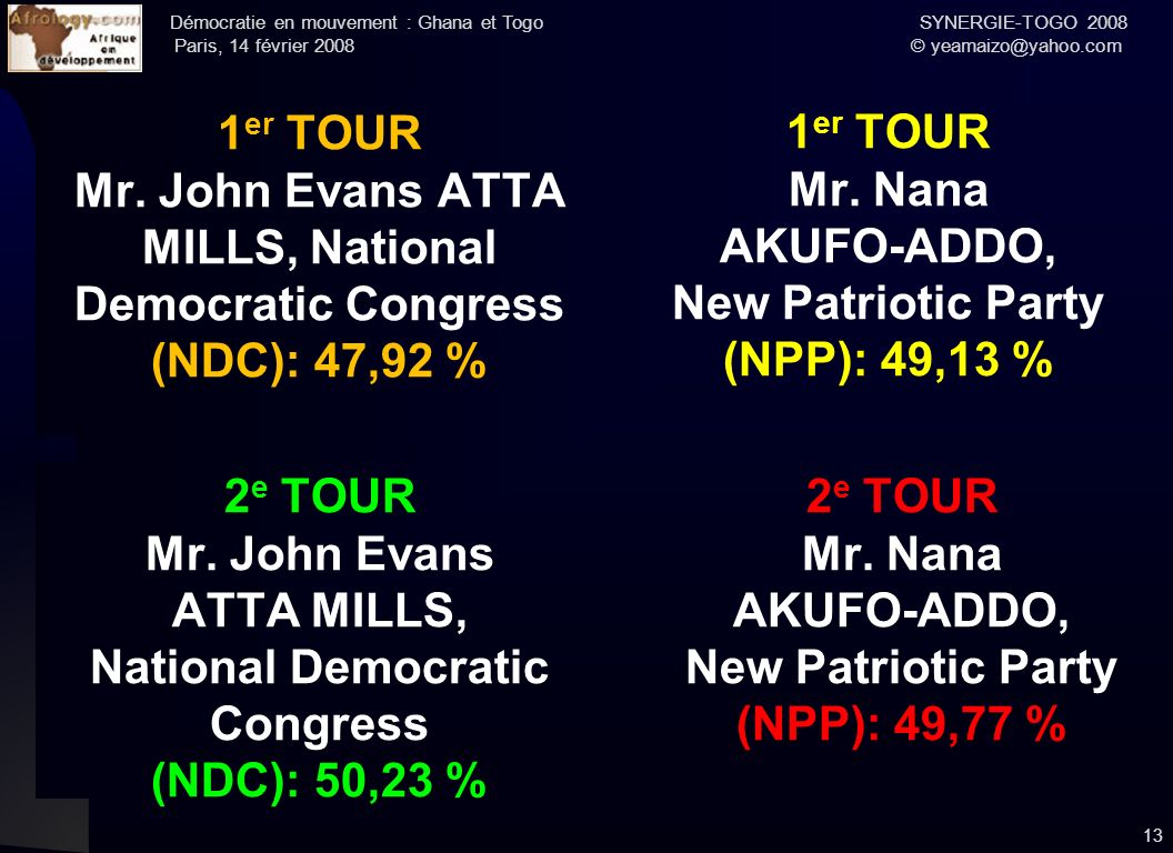 Mr. John Evans ATTA MILLS, National Democratic Congress (NDC): 47,92 %