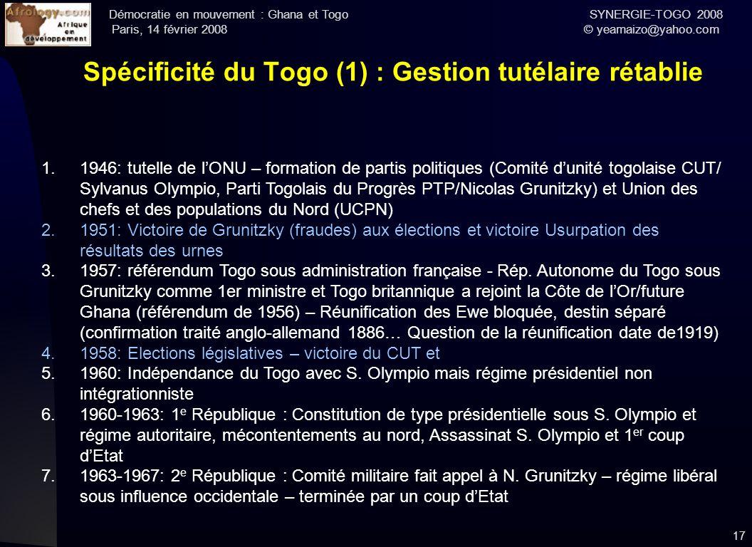 Spécificité du Togo (1) : Gestion tutélaire rétablie