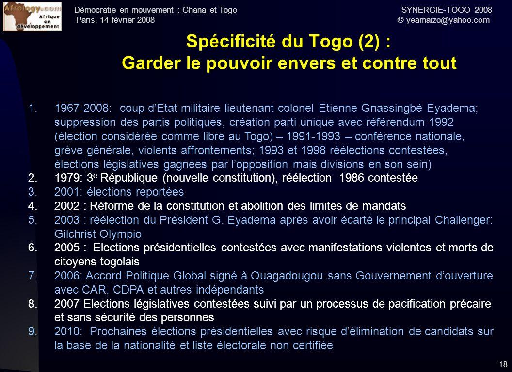 Spécificité du Togo (2) : Garder le pouvoir envers et contre tout