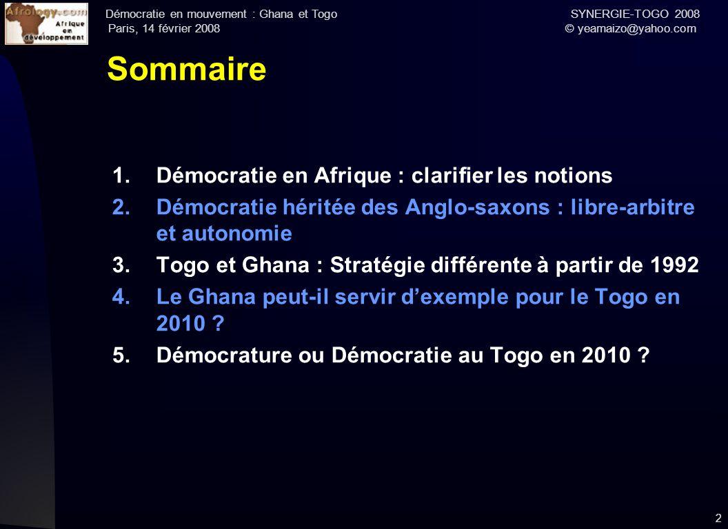 Sommaire Démocratie en Afrique : clarifier les notions
