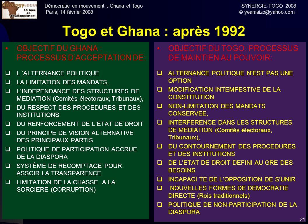 Togo et Ghana : après 1992 OBJECTIF DU GHANA : PROCESSUS D'ACCEPTATION DE: L 'ALTERNANCE POLITIQUE.