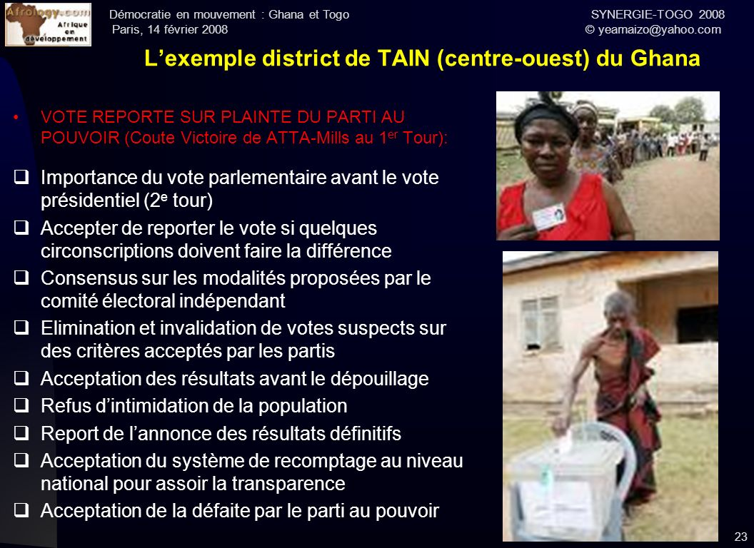 L'exemple district de TAIN (centre-ouest) du Ghana