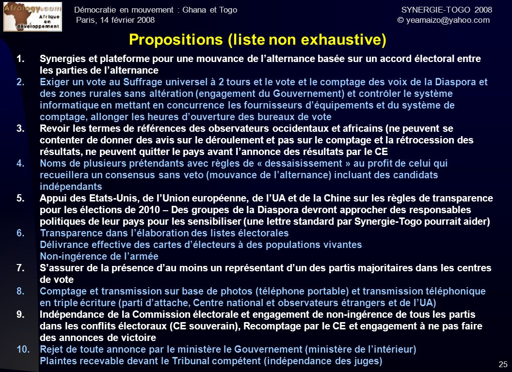 Propositions (liste non exhaustive)