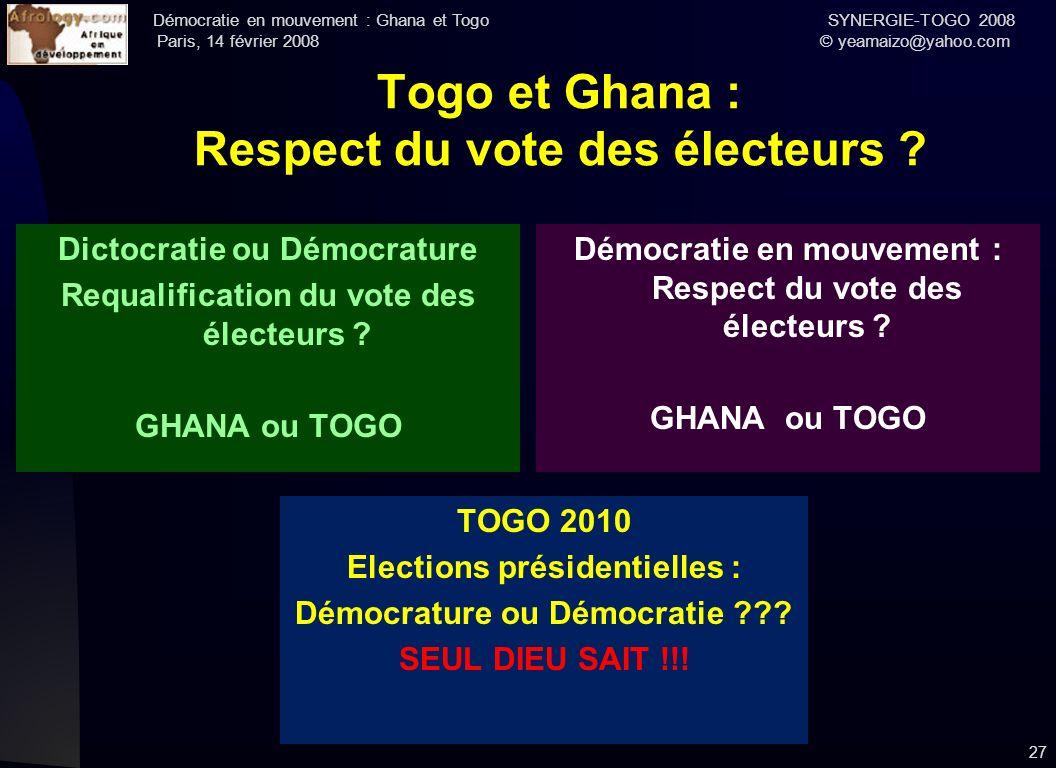 Togo et Ghana : Respect du vote des électeurs