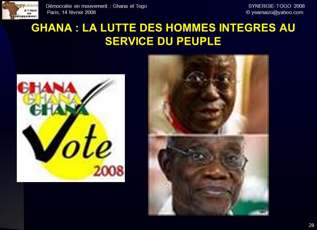 GHANA : LA LUTTE DES HOMMES INTEGRES AU SERVICE DU PEUPLE