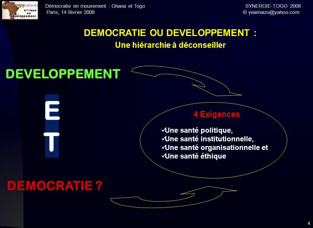 DEMOCRATIE OU DEVELOPPEMENT : Une hiérarchie à déconseiller