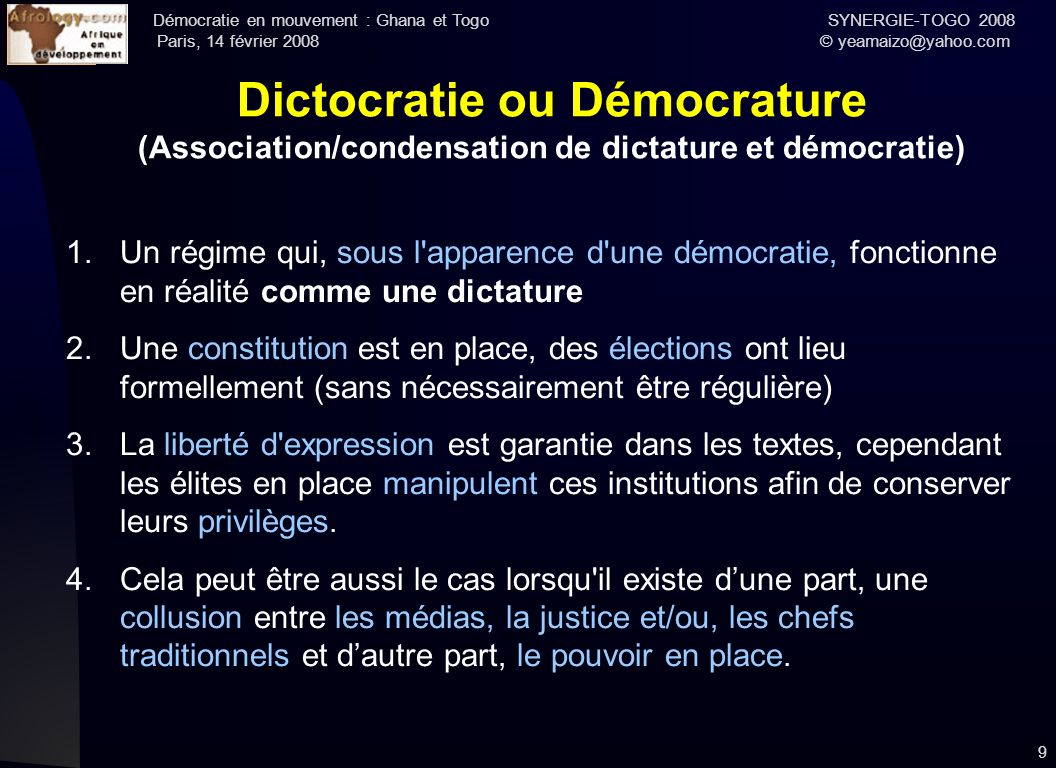 Dictocratie ou Démocrature (Association/condensation de dictature et démocratie)