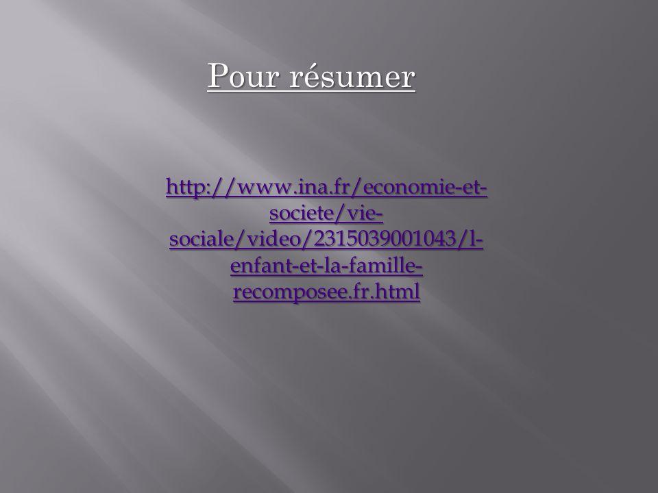 Pour résumer http://www.ina.fr/economie-et-societe/vie-sociale/video/2315039001043/l-enfant-et-la-famille-recomposee.fr.html.
