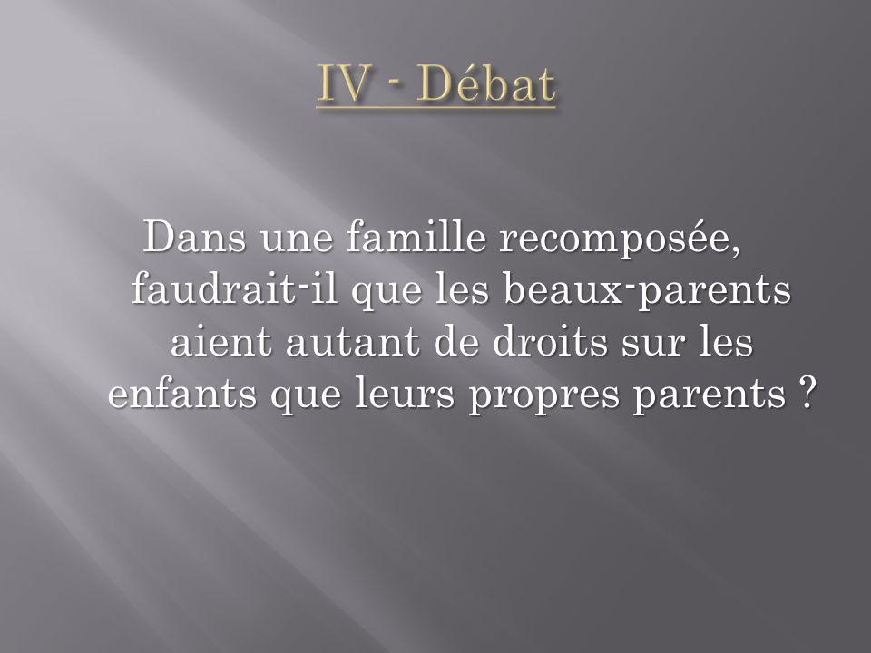IV - Débat Dans une famille recomposée, faudrait-il que les beaux-parents aient autant de droits sur les enfants que leurs propres parents