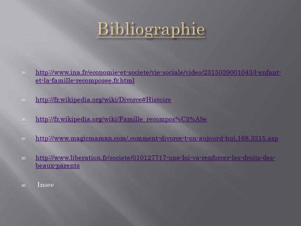 Bibliographie http://www.ina.fr/economie-et-societe/vie-sociale/video/2315039001043/l-enfant-et-la-famille-recomposee.fr.html.