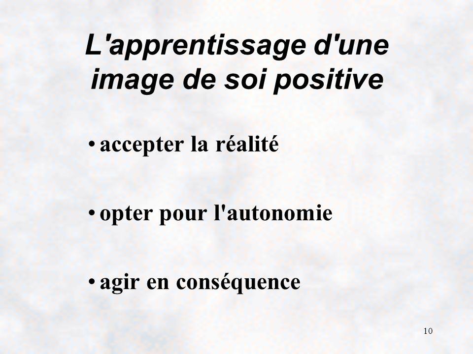L apprentissage d une image de soi positive