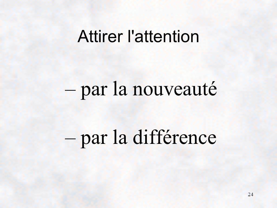 Attirer l attention par la nouveauté par la différence