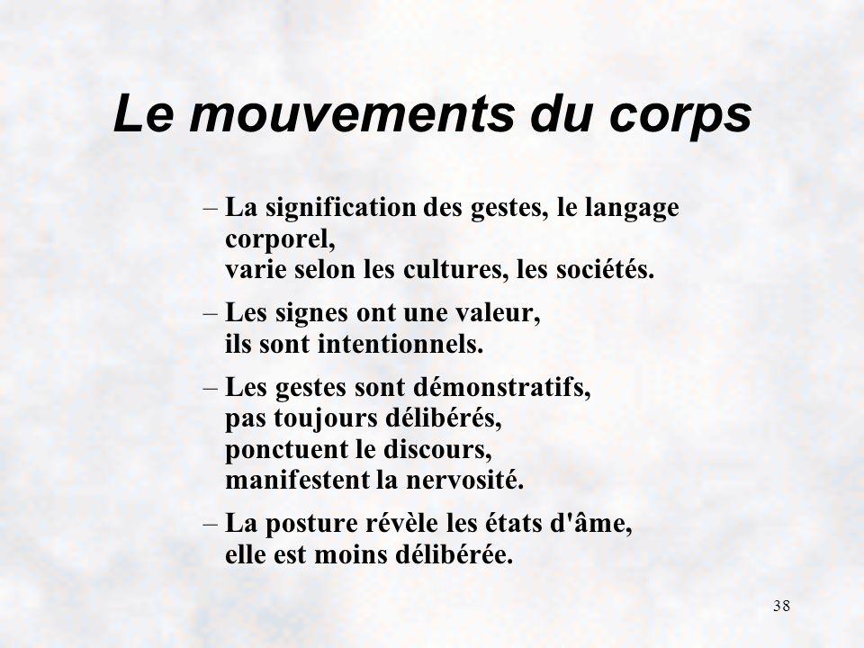 Le mouvements du corps La signification des gestes, le langage corporel, varie selon les cultures, les sociétés.