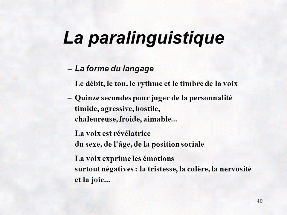 La paralinguistique La forme du langage