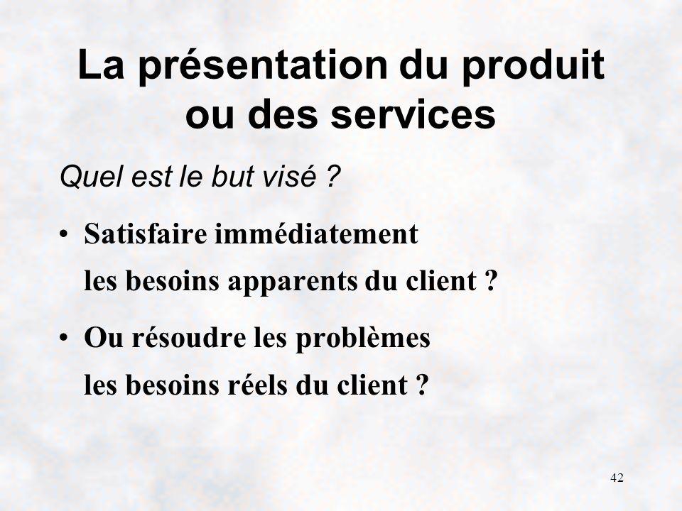 La présentation du produit ou des services