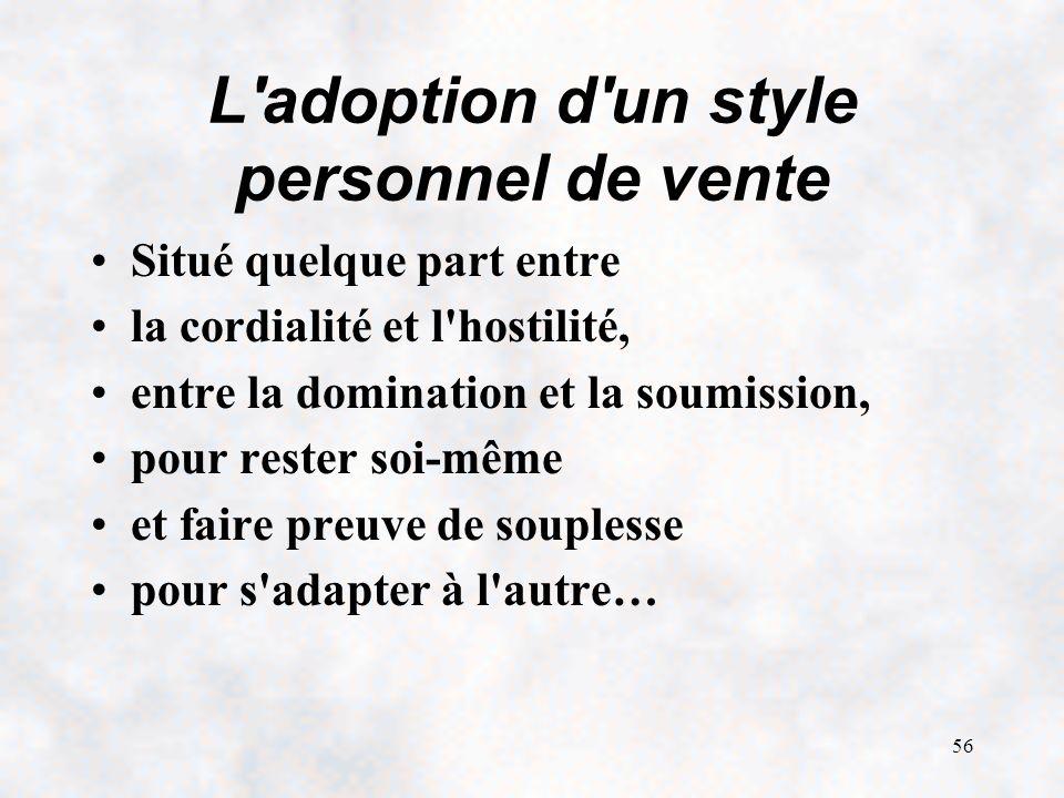L adoption d un style personnel de vente