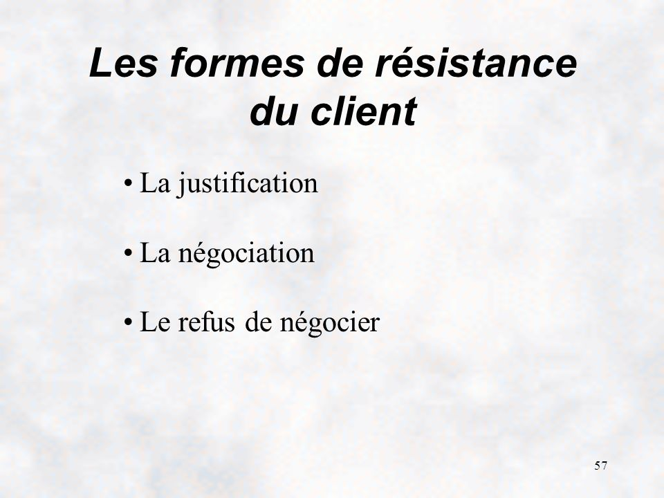 Les formes de résistance du client