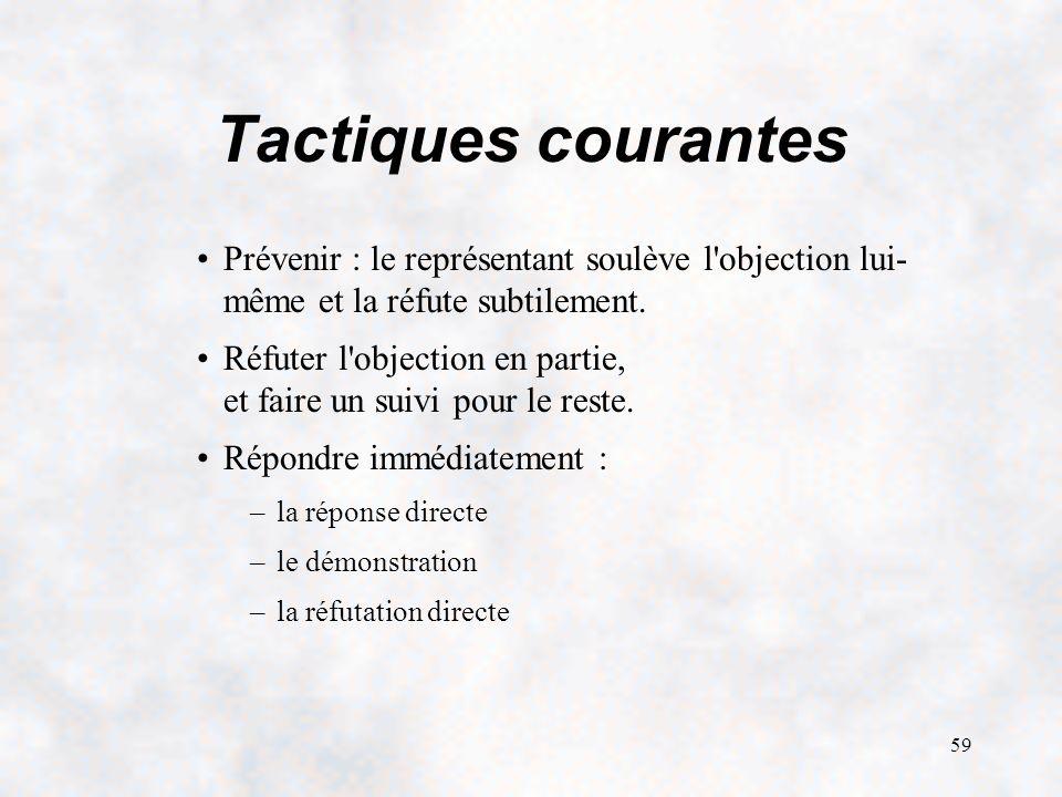 Tactiques courantes Prévenir : le représentant soulève l objection lui- même et la réfute subtilement.