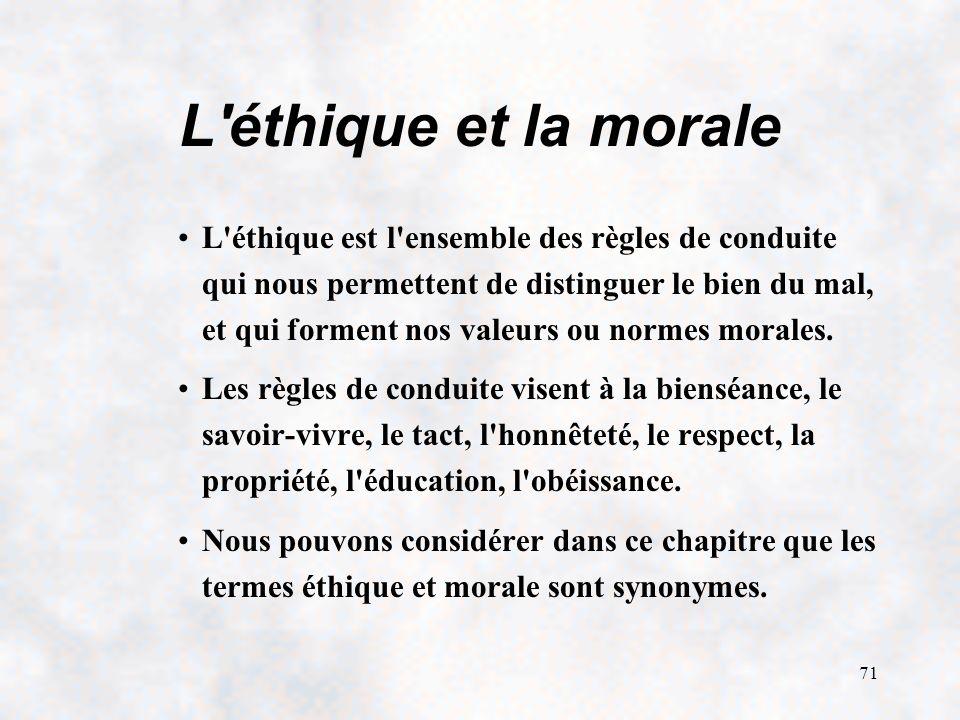 L éthique et la morale
